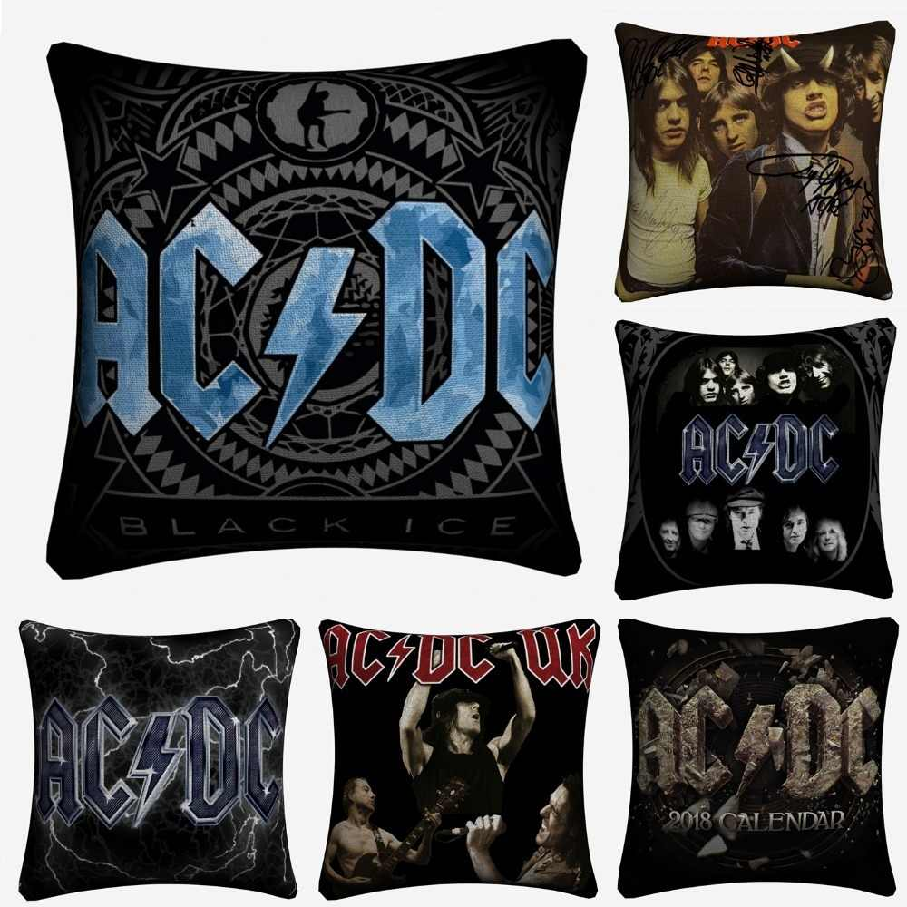 AC DC Singer Music Photos Decorative Pillow Case For Sofa 45x45cm Linen Cushion Cover Home Decor Throw Pillow Covers Almofada