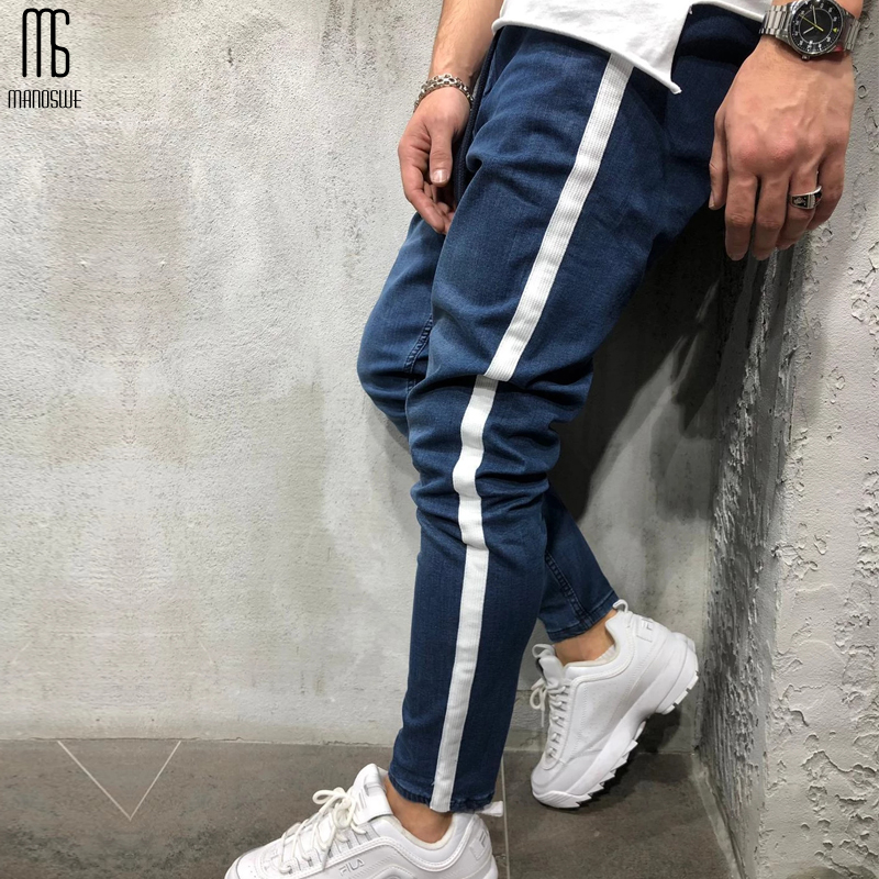 Manoswe Autumn Winter Fashion Mens Jeans Casual Straight Feet Skinny Jeans Trousers 2019 Sportswear Sports Hip Hop Black Denim