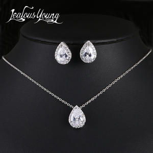 Wedding-Jewelry-Sets Crystal Gifts Bridesmaids Nigerian Water-Drop Cubic-Zirconia Luxury