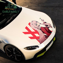 EARLFAMILY 43cm x 42.6cm For Zero Two Waterproof Fine Decal Sunscreen Car Stickers Car Assessoires Occlusion Scratch Decor