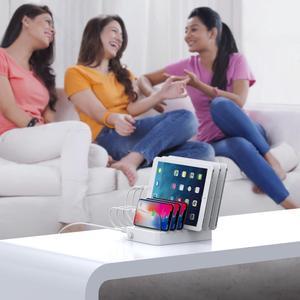Image 5 - Soopii Charge rapide 3.0 60W/12A Station de recharge USB 6 ports pour plusieurs appareils, Station daccueil avec 8 câbles pour Iphone inclus