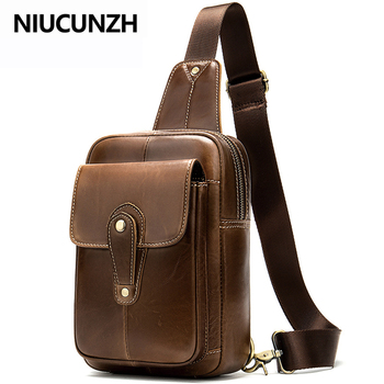 NIUCUNZH Men's Bags Shoulder Bag for Men Crossbody Man Bag Leather Genuine Messenger Bags Small Travel Male Sling Chest Pack qibolu genuine leather mens sling bag single shoulder bag men chest pack messenger crossbody bag for man bolsas masculina mba37