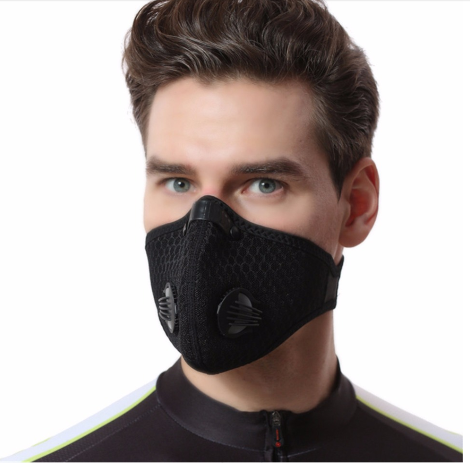 Washable Reusable Face Mask With Filter Activated Carbon PM 2.5 Windproof Bicycle Protective Mask