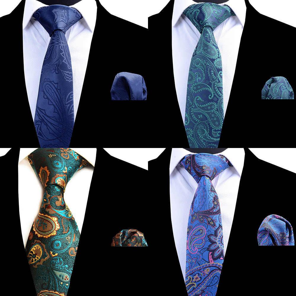 RBOCOTT الرجال التعادل مجموعة الكلاسيكية 8 سنتيمتر ربطة العنق و المنديل الأصفر الأخضر الأسود بيزلي العلاقات جيب مربع مجموعة للرجال الزفاف