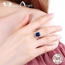 Женское серебряное кольцо с сапфиром регулируемое из настоящего