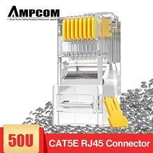 Ampcom cat5e rj45 conector 8p8c cabo ethernet modular rj 45 termina ethernet cabo de friso conectores utp plugue de rede