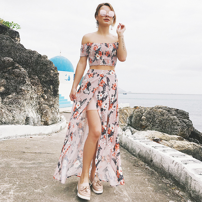 Shorts Pullover Female Long Tops Floral Clothing Summer 2020 Dress Women Piece Elastic Beach Two Set Print Strapless Sets