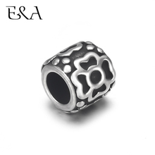 4pcs Stainless Steel Drum Flower Bead Charms 5mm Large Hole for Leather Jewelry Bracelet Making Metal Beads DIY Supplies Parts