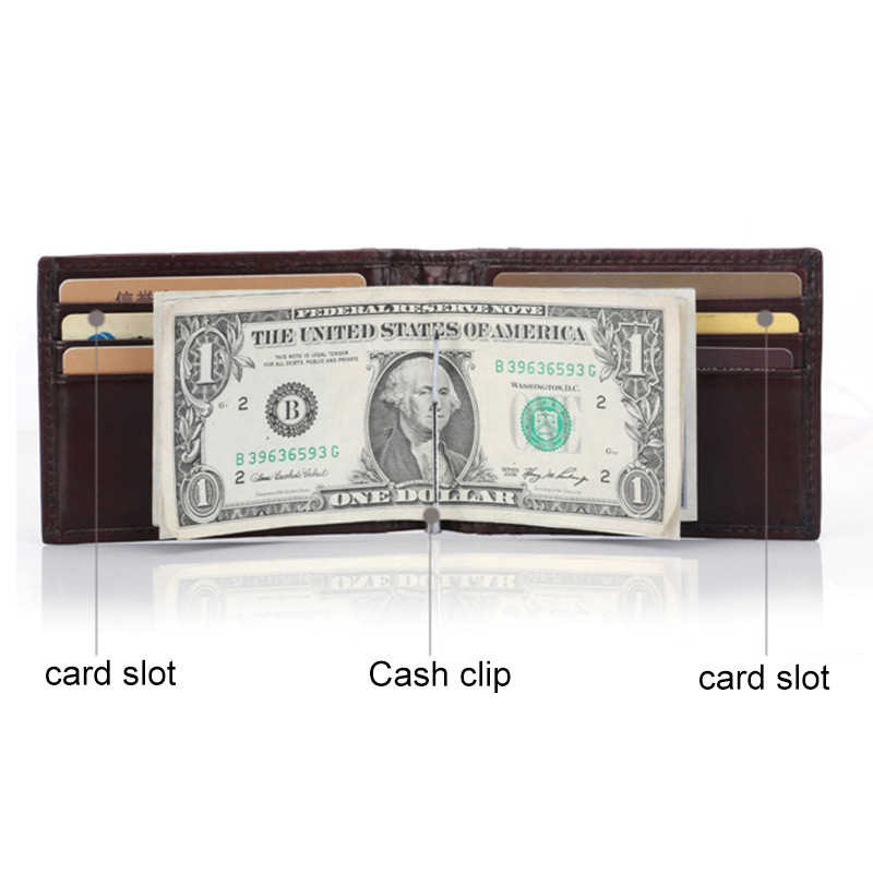 Купить с кэшбэком Genuine Leather Wallet Men Slim Cowhide Men Wallets RFID Blocking Anti-theft Money Clips ID Credit Card Case Business Money Bag