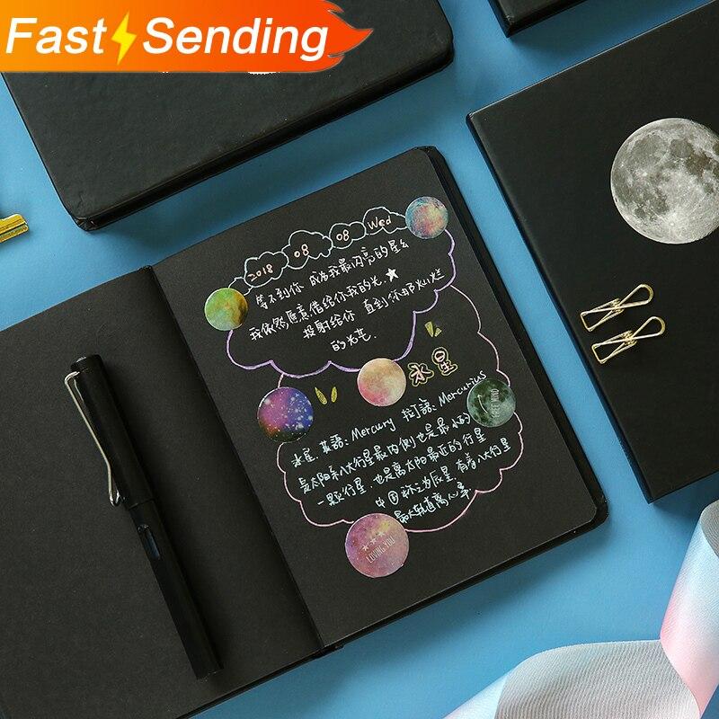 JIANWU Cute Starry Sky Notebook Stationery Black Blank Paper Planner Sketchbook Vintage Diary Bullet Journal School Supplies