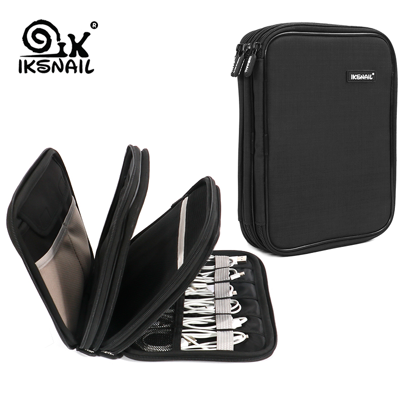 IKSNAIL Cable Organizer Bag Electronics Accessories Travel USB Drive Bags 3 Layers Grooming Kit Winder Management Storage Case
