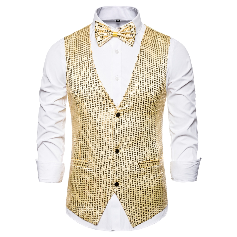 Men Vests Suits Sequins Gold Plus-Size Dj Stage Fashion Slim Colorful S-2XL
