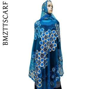 Image 5 - Écharpes africaines pour femmes musulmanes, écharpe en filet brodée, écharpe transparente de conception circulaire pour châles, BM02, nouvelle collection