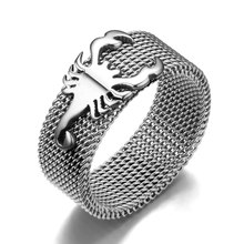 8mm Rhodium Plated Punk Scorpion Ring Vintage Light Polish Rings For Men Women Titanium Steel Charms(China)