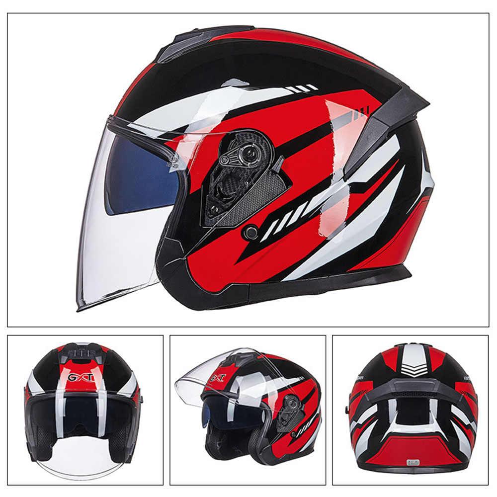 GXT Helm Sepeda Motor Pria Casque Casco Moto Helm Half Face Skuter Sepeda Motor Naik Helm Double Lensa untuk Pria Wanita