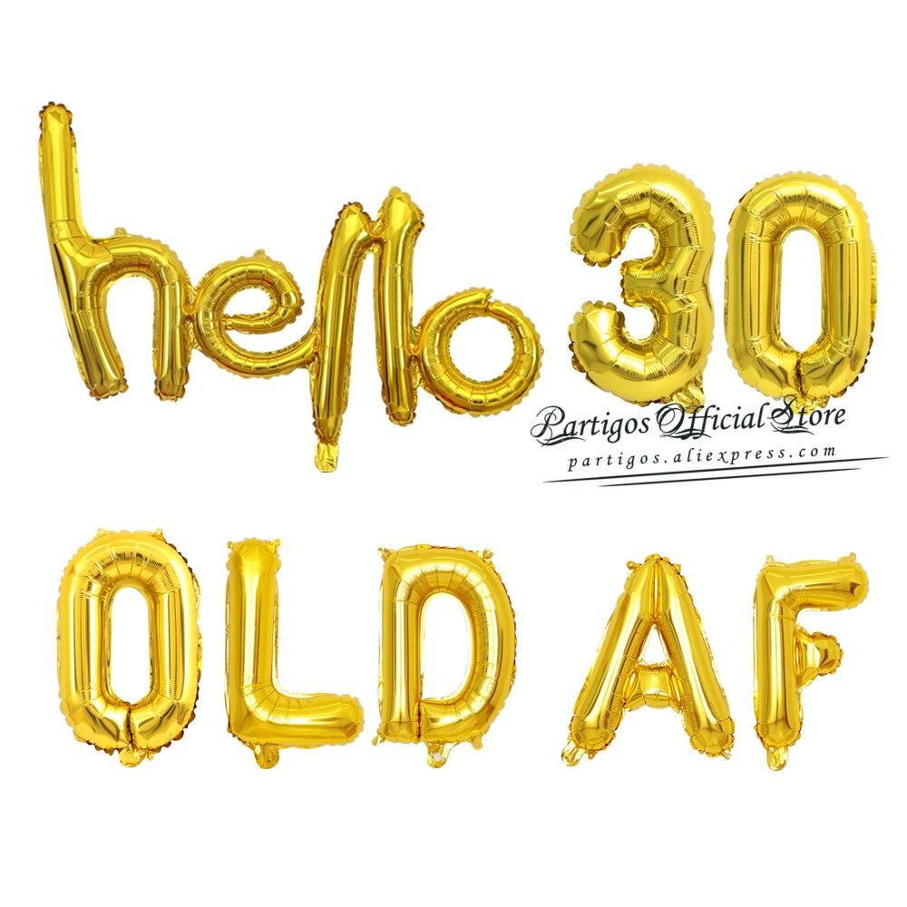 1 conjunto 16 polegada ouro rosa balões de folha af velho sujo 30 40 50th aniversário trinta globos olá 30th festa de aniversário decoração bolo topper
