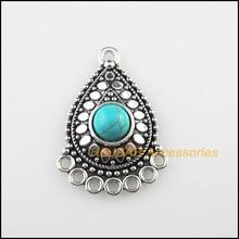 6Pcs Tibetan Silver Color Blue Stone Flower Teardrop Charms Connectors 25.5x36mm