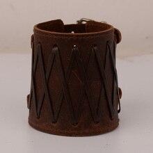 Punk Bracelet For Men Women Wide Band Bangle Vintage Wristband Fashion Jewelry Blue Black Genuine Leather
