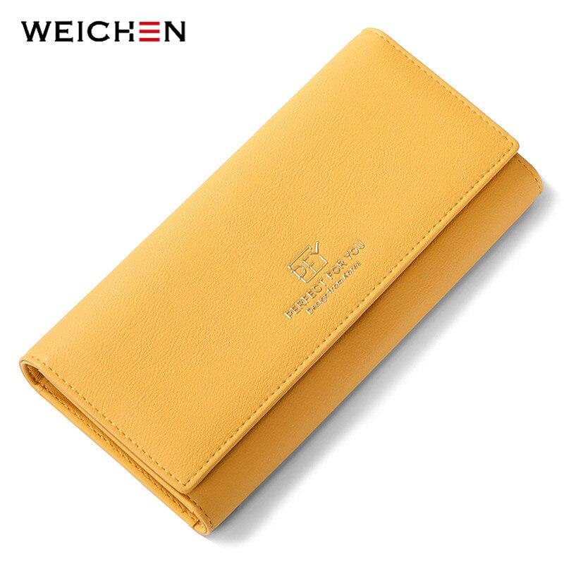 WEICHEN Neue Design Viele Abteilungen Frauen Brieftaschen Trifold Große Kapazität Karte Halter Geldbörse Weiblichen Brieftasche Lange Kupplung Carteras