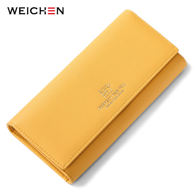 WEICHEN New Design Many Departments Women Wallets Trifold Large Capacity Card Holder Purse Female Wallet Long Clutch Carteras