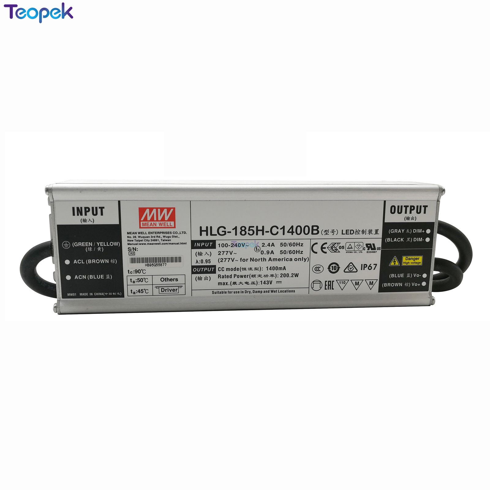 Original  MEAN WELL LPC-60-1400 HLG-100H-36B HLG-185H-C1400B Driver Power Supply For Cree CXB3590 CXA3050 LED