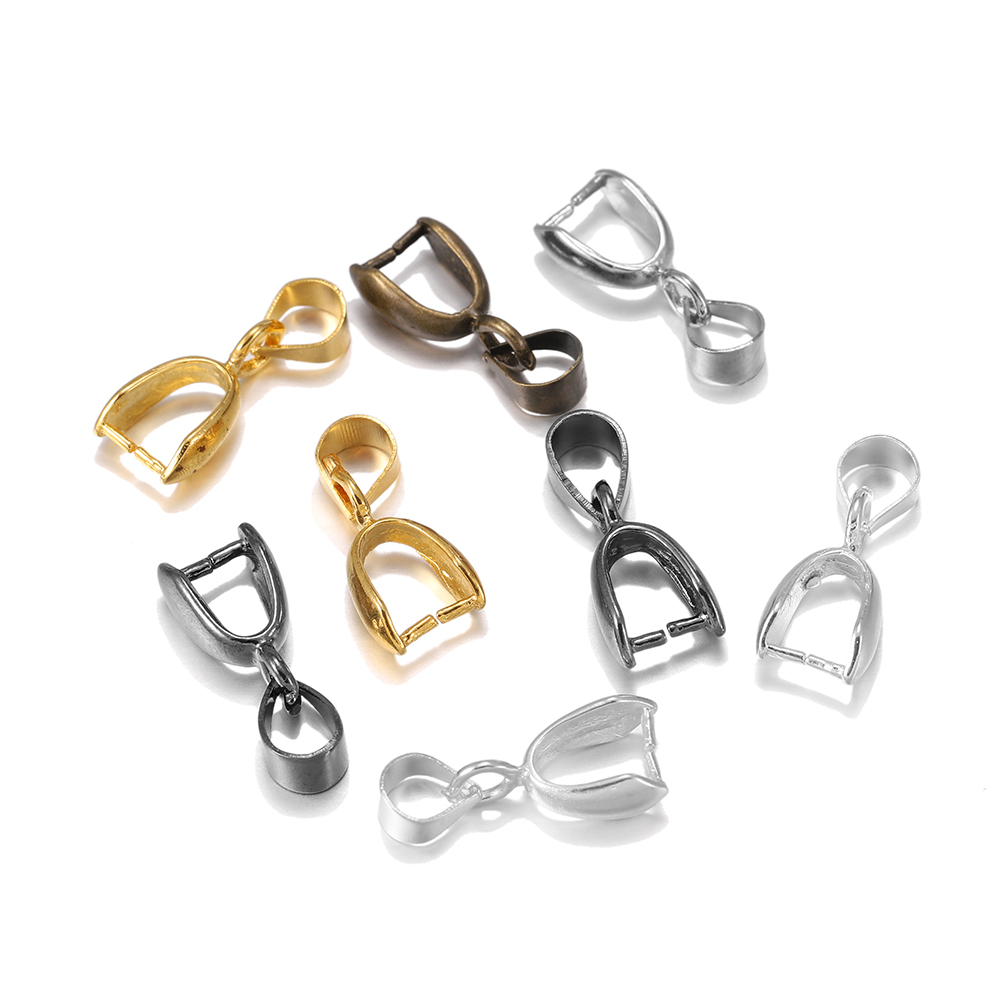 50pcs/lot Gold Silver Copper Pendant Clasps Hook Bails Clips Connectors For Jewelry Making DIY Necklace Pendants Clasp