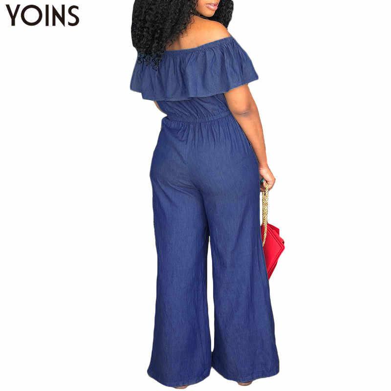 YOINS DENIM Rompers WOMENS Jumpsuit 2019 ฤดูร้อนเซ็กซี่คอ Slash ปิดไหล่ Ruffles Playsuits PLUS ขนาดกว้างขากางเกง Overalls