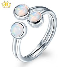 HUTANG Natural Opal Womens Ring, 925 Sterling Silver Engagement Open Rings, Gemstone Fine Jewelry 3 Stone Classic Design
