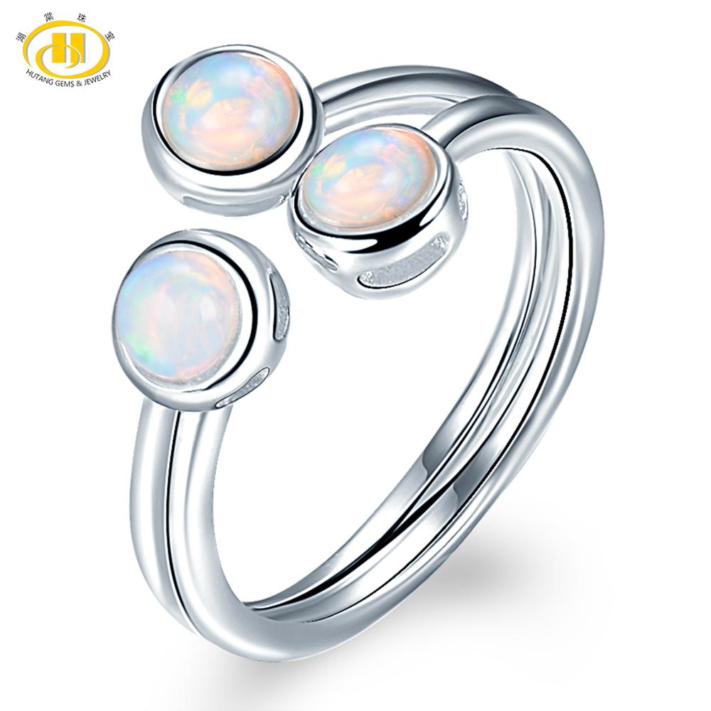 HUTANG Natural Opal Women's Ring, 925 Sterling Silver Engagement Open Rings, Gemstone Fine Jewelry 3 Stone Classic Design