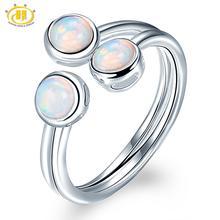 HUTANG naturalny opal kobiet pierścień, 925 Sterling Silver pierścionki zaręczynowe otwarte, kamień Fine Jewelry 3 kamień klasyczny Design