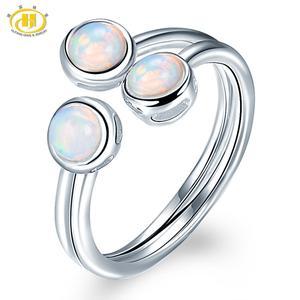 Image 1 - Женское кольцо с натуральным опалом HUTANG, обручальные Открытые Кольца из серебра 925 пробы, драгоценные камни, ювелирные изделия с 3 камнями, классический дизайн