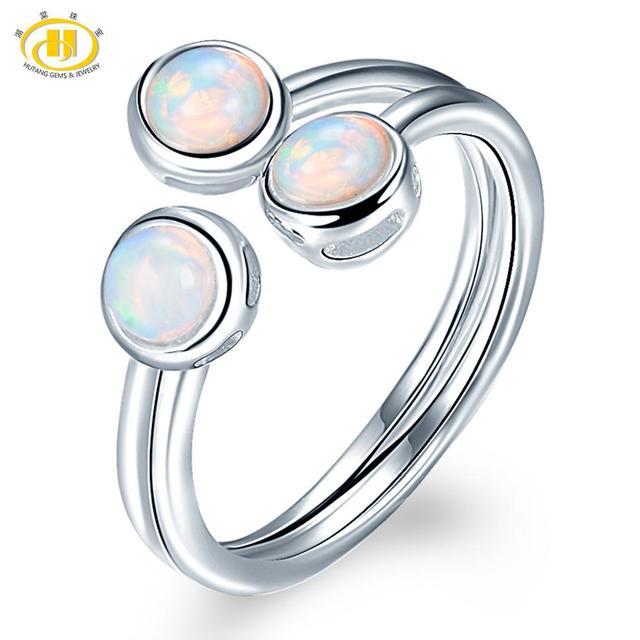 Женское кольцо с натуральным опалом HUTANG, обручальные Открытые Кольца из серебра 925 пробы, драгоценные камни, ювелирные изделия с 3 камнями, классический дизайн