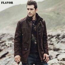 Kожаная куртка мужская FLAVOR, коричневая куртка из натуральной свиной кожи, теплое мужское пальто на хлопковой подкладке, новинка для зимы
