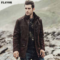 FLAVOR New 2017 Winter Men's Genuine Leather Jacket male Overcoat Pigskin warm Coat padding cotton Real Leather Jacket