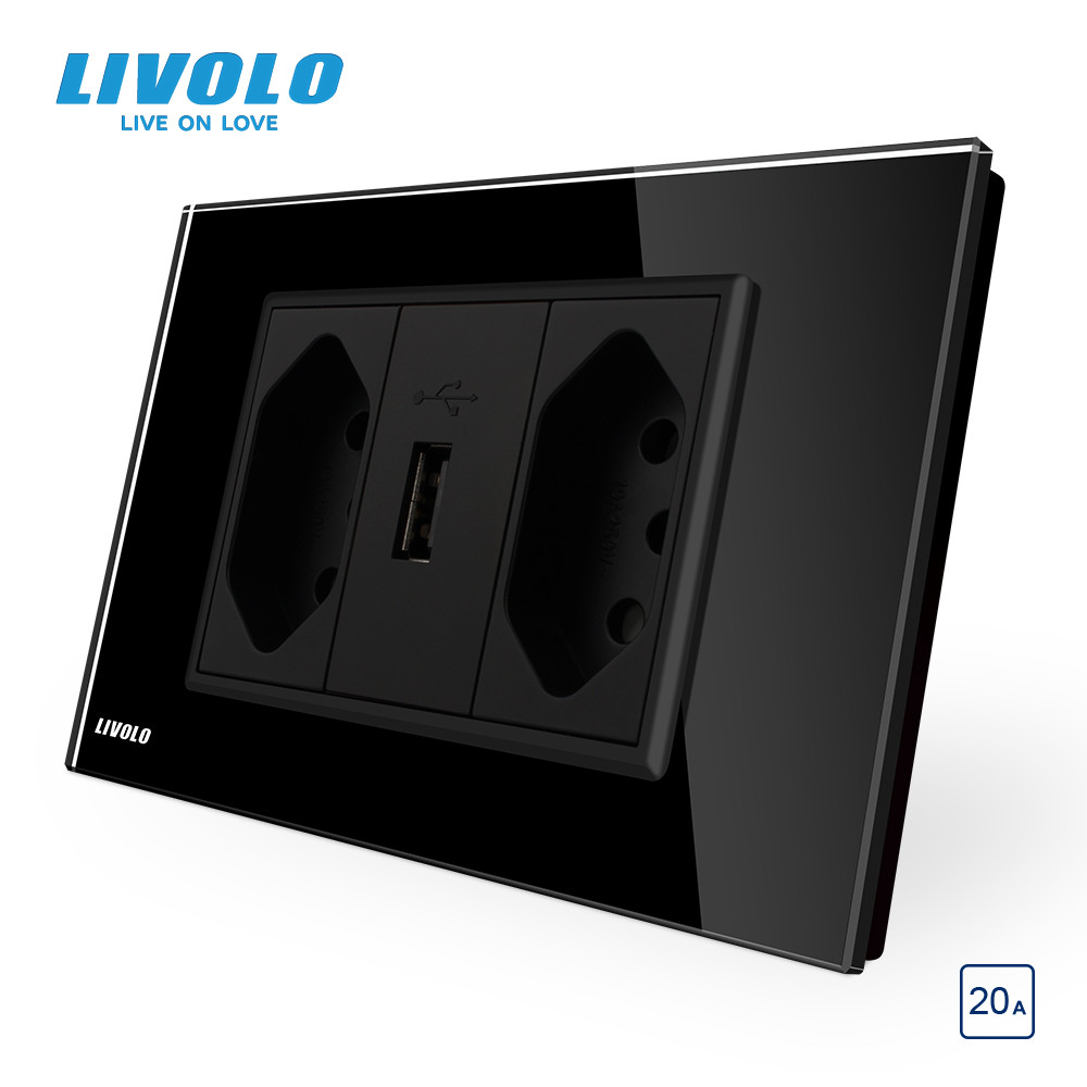lowest price Livolo Brazilian Standard 3Pins 10A 20A with USB Socket White Black Glass panel for typninchninch pluggrounding wires