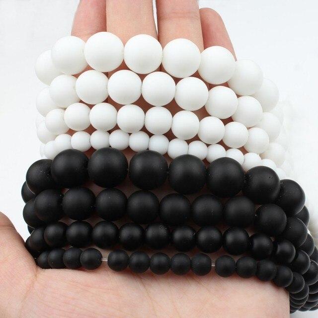 """Naturalny kamień biały czarny matowy połysk matowy onyks agaty gładkie kule do tworzenia biżuterii DIY bransoletka 15 """"Strand 4-12mm"""