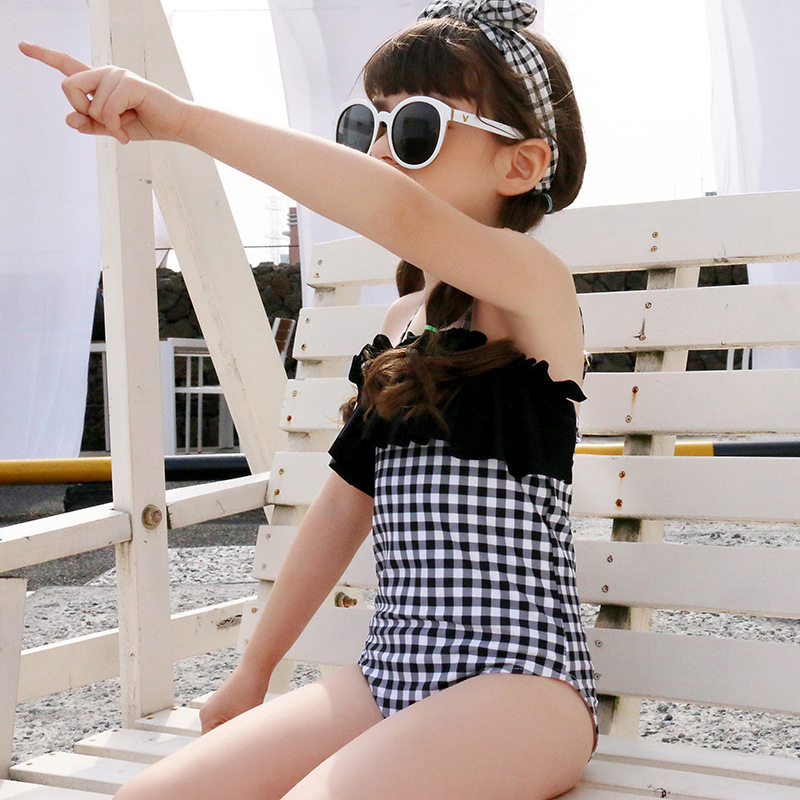 Chang Ning 2019 New Style Children Joint Flounced-Triangular Plaid Siamese Swimsuit
