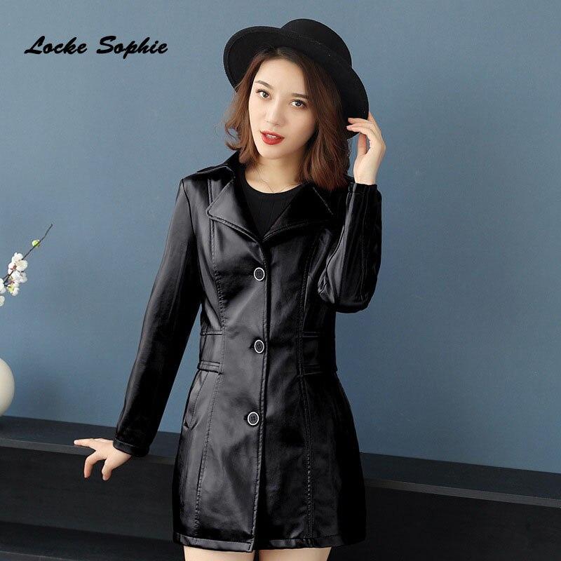 Womens Plus size slim fit Long jacket coats 2019 Autumn faux fur PU   Leather   Single Breasted Jacket ladies loose locomotive coats