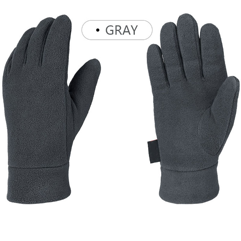 Man Outdoor Riding Fleece Gloves Winter Light Thermal Sports Full Finger Glove Running Jogging