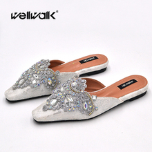 Rhinestone Mules Women Flat Shoes Pearl Jewelry Lace Slipper Ladies Fashion Slip On Loafers Pointed Toe Slides Female Flip Flop