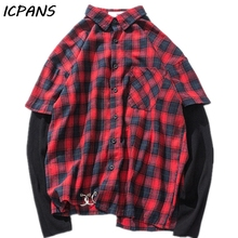 ICPANS Hawaiian Shirt Men Plaid Streetwear Hip Hop Camisa Hombre  blouse men Long Sleeve button up shirt 2019 Summer Spring цена