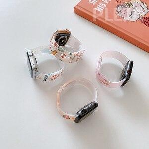 Image 4 - Bracelet en Silicone dessin animé mignon pour Apple Watch, 44mm 40mm 38mm 42mm pour IWatch série 6 5 4 3 2 1, Bracelet à boutons