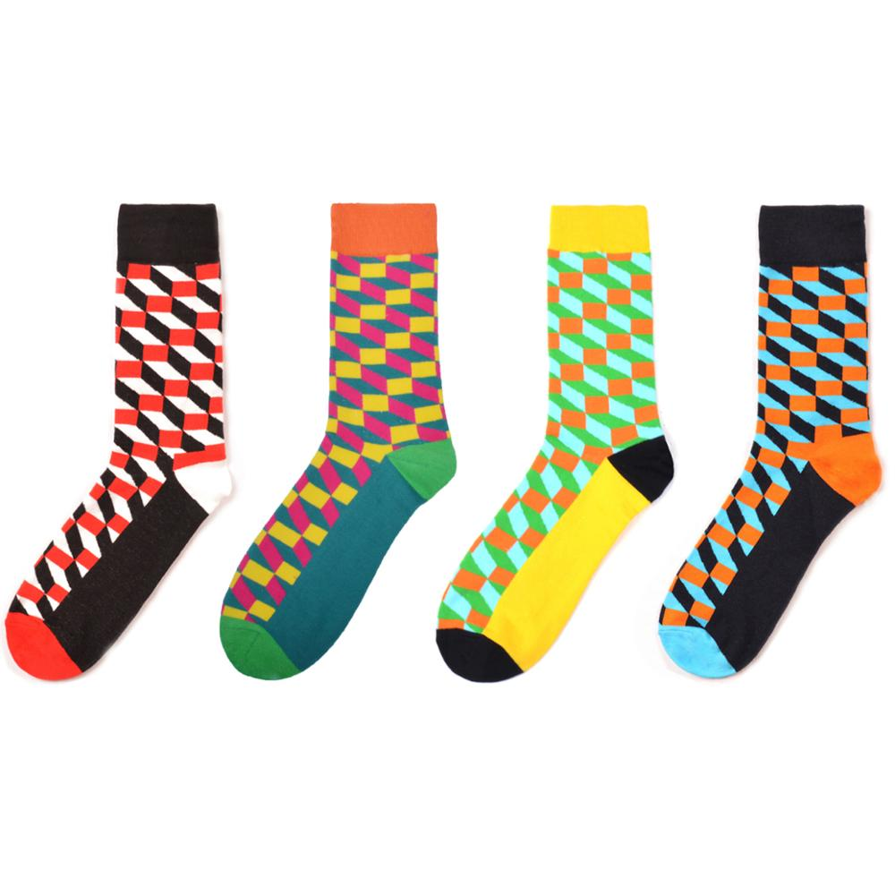 Fashion Men's Combed Cotton Casual Colorful Funny Crew Socks Geometric Pattern Novelty Wedding Party Socks For Christmas Gifts