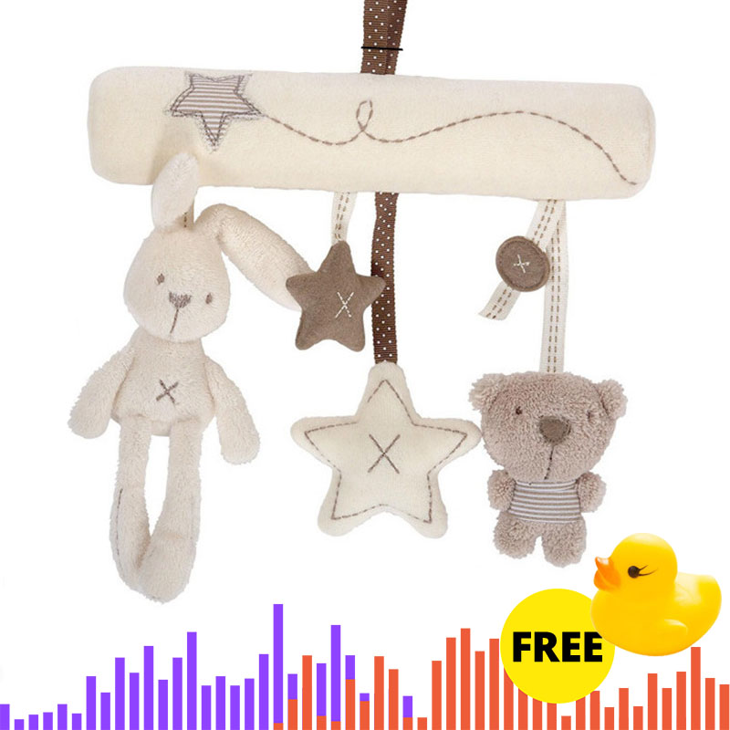 Rabbit baby hanging bed safety seat plush toy Hand Bell Multifunction Plush Toy