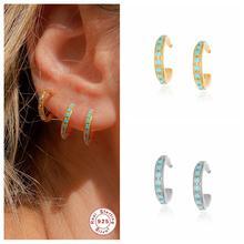 Echt 925 Sterling Silber Ohr Manschette 2PCS Türkis Faux Piercing Ohrringe Für Mädchen Frauen Clips Auf Ohrring Earcuff Feine schmuck
