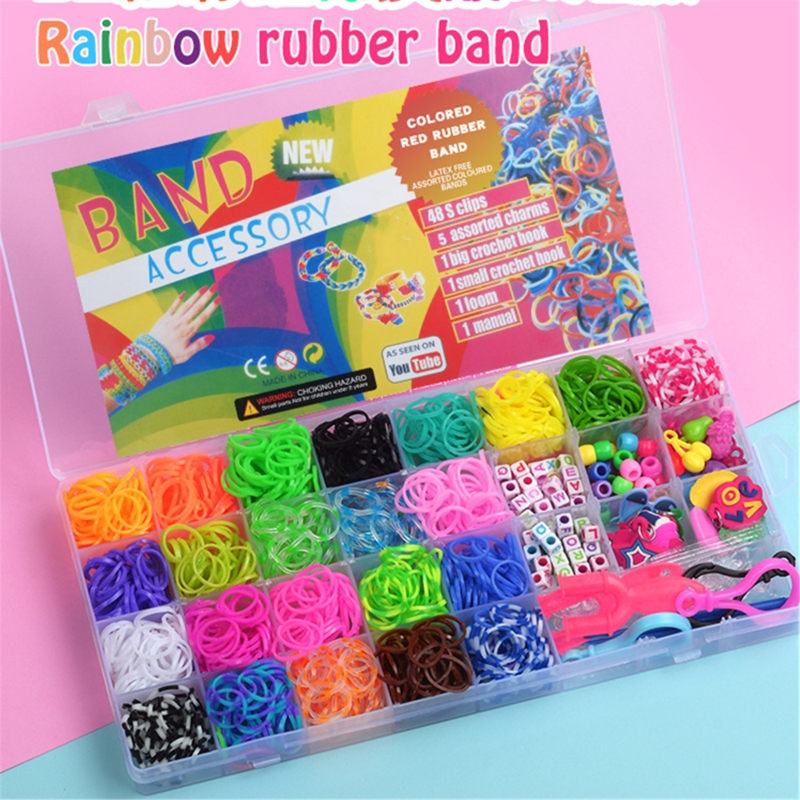 New 1500pcs Rainbow Rubber Bands Set Kid Multi-functional Classic Practical Funny DIY Toys Rainbow Woven Bracelet for Girl Gifts 5