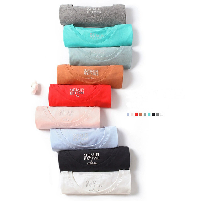 SEMIR summer cotton T shirts men 2021 simple o neck stretch solid new tops clothing casual tshirt man streetwear cool tee shirts 1