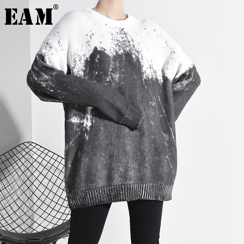 [EAM] Gray Big Size Knitting Sweater Loose Fit Round Neck Long Sleeve Women Pullovers New Fashion Tide Spring 2020 1K51602