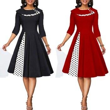 MISSJOY 2020 Plus size 3XL Women Vintage Retro long sleeves 1950s Cocktail Ploka Dot Printed Button Patchwork midi Party dress