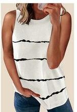 T-shirt d'été Femmes couture col rond rayé imprimé T-Shirt sans manches tête h gilet Té femelle T-shirts Livraison Directe BYT2130
